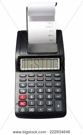 Isolated calculator with printing roll for comptability, isolated by clipping path on white background