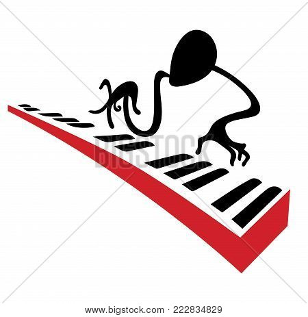 Piano player carries out a solo on piano