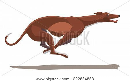 Minimalist image of a running greyhound on a white background