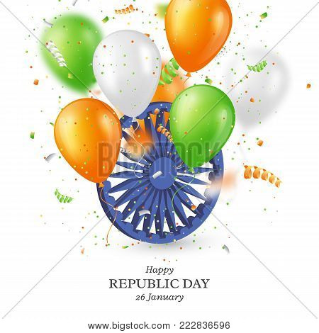 Indian republic day holiday background. 3d wheel with balloons in traditional tricolor of indian flag and confetti. Vector illustration.