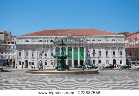 LISBON, PORTUGAL - 05.21.2017: National theater Dona Maria II Rossio Square landmark architecture