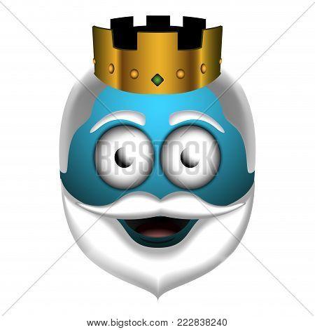 Happy wise man emoji on a white background, Vector illustration