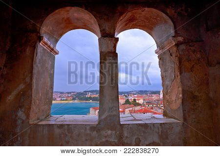 Town of Porec view from church tower window, Istria region of Croatia