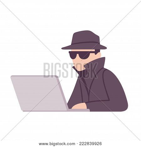 Spy agent with computer getting access to confidential information. Spying, surveillance and privacy vector illustration.