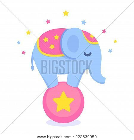 Cartoon circus elephant balancing on ball. Cute and funny circus performance vector illustration.