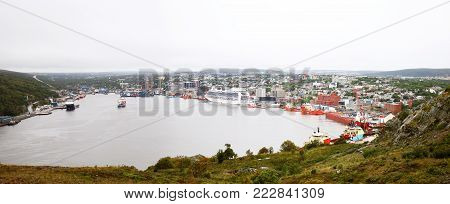 St. John's Harbour, Newfoundland, Canada. Two Photo stitch panoramic of St. John's harbour as seen from Signal Hill