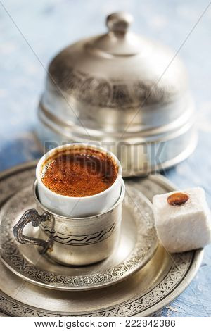 Turkish Coffee and Delicious Turkish Delight on Table