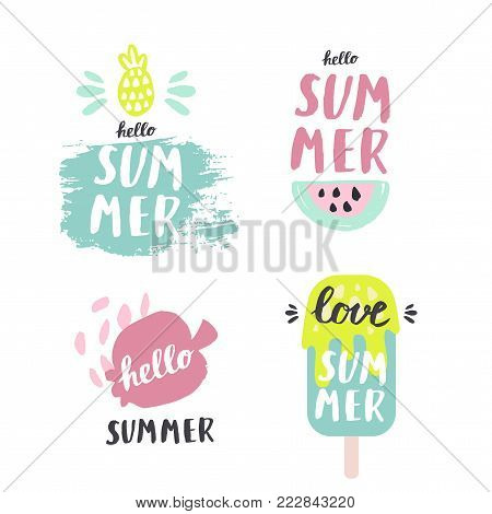 Summer lettering pop art set with holiday Elements. Pomegranate, watermelon, ice cream, pineapple. Typographic design. Vector illustration.