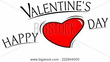 View to a beautiful illustrated Valentines Day Graphic with black Text and a Red Heart. Happy Valentine's Day Background as an Illustration.