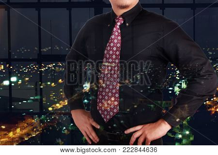 Successful Businessman Smiling, Hands On Hips