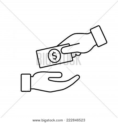Hand giving money to another hand line icon. Vecor outline illustration Giving and receiving money, donation concept.