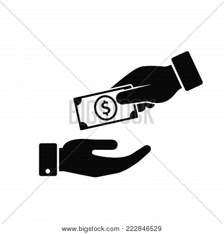 Hand giving money to another hand icon. Vecor illustration Giving and receiving money, donation concept.