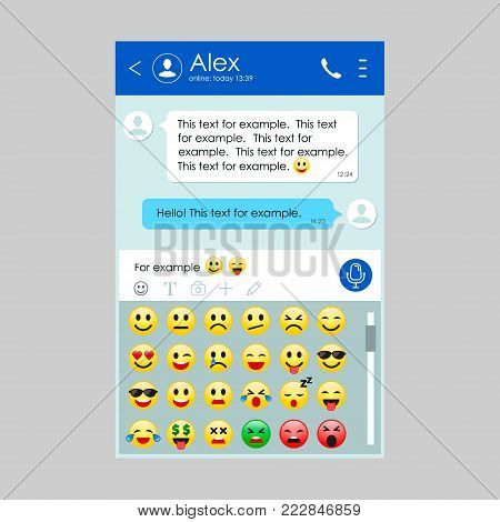 Chat app template whith mobile smile emoticon set. Social network concept. Messenger realistic window. Chating and messaging concept. Vector illustration.