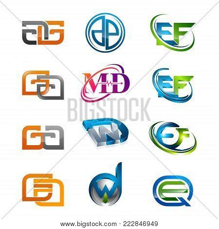 3d Letters Ag, Dp, Ef, Ga, Md, Dw, Qe Initial Alphabet Logo Design Template Elements