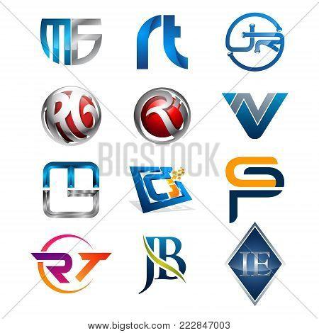 3d Letters Ms, Rt, Jr, Rg, R, Nv, Md, D, Cp, Rt, Jb, Je Initial Alphabet Logo Design Template Elemen