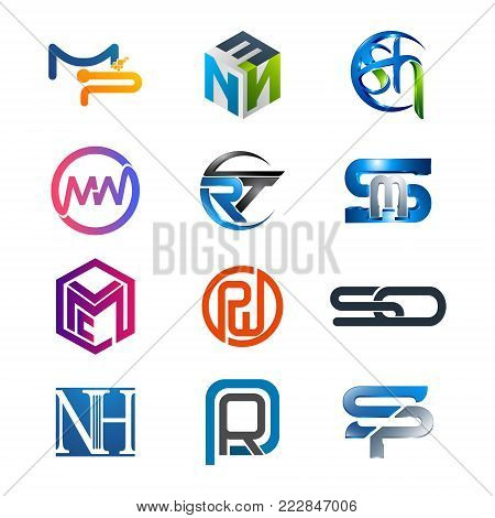 3d Letters Mp, Enn, Sh, Mn, Rt, Sm, Lmc, Pw, So, Nh, Pr, Sp Initial Alphabet Logo Design Template El