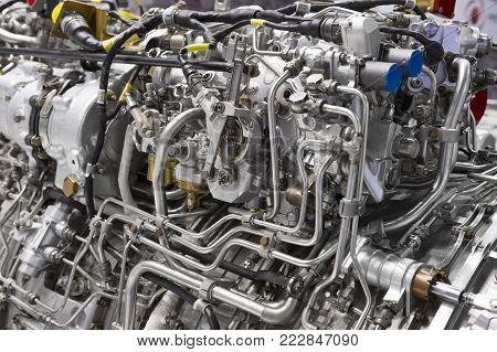 Engine of fighter jet, internal structure with hydraulic, fuel pipes and other hardware and equipment, army aviation, military aircraft and aerospace industry