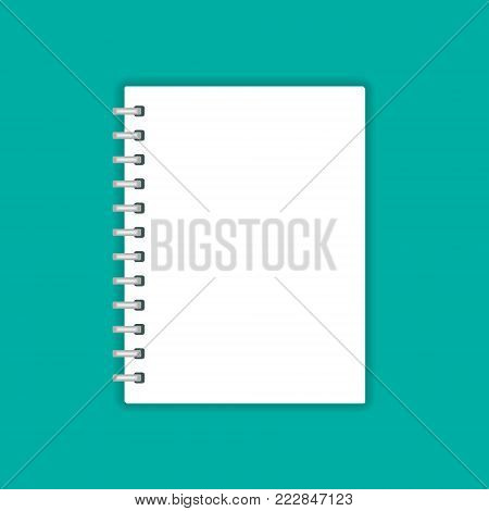Blank realistic spiral notepad notebook isolated on green, vector illustration.