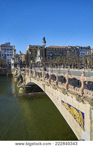Maria Cristina Bridge Of San Sebastian. Basque Country, Guipuzcoa. Spain.