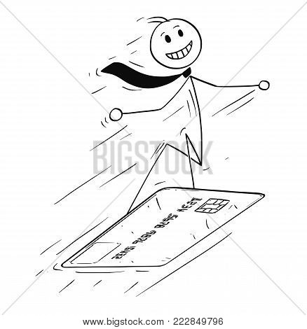 Cartoon stick man drawing conceptual illustration of businessman surfing or snowboarding on credit card. Business concept of shopping and credit control.