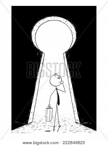 Cartoon stick man drawing conceptual illustration of businessman standing in front of keyhole and need to decide. Business concept of dream and decision.