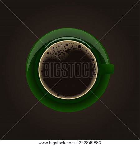 Green cup of coffee. Vector clip art illustration.view above of coffee cup on the tableDrink coffee this morning,Black coffee in a cup of coffee