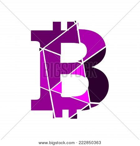 Bitcoin crypto currency sign icon for internet money. Blockchain based secure cryptocurrency. Polygonal style design. Shattered letter