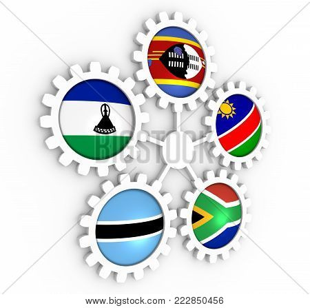 Southern African Customs Union - association of five national economies members flags on gears. Global teamwork. 3D rendering