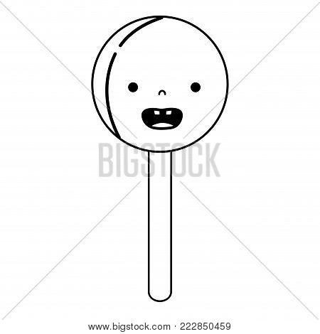 line smile circle ice lolly kawaii vector illustration