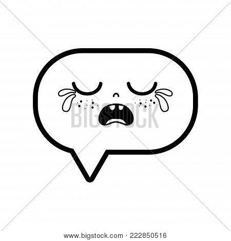 line gaudy chat bubble kawaii cartoon vector illustration