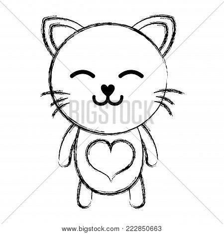figure sleeping cat cute feline animal vector illustration poster