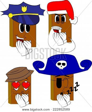 Books with hands over mouth. Cartoon book collection with costume faces. Expressions vector set.