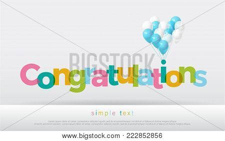 congratulations colorful with balloons on white background. congratulations logo design for poster banner template. vector illustrator