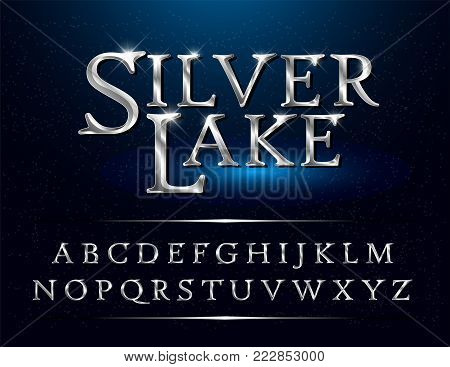 Set of Elegant Silver Colored Metal Chrome alphabet font. Typography classic style silver font set for logo, Poster, Invitation. vector illustrator