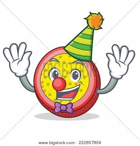 Clown passion fruit mascot cartoon vector illustration