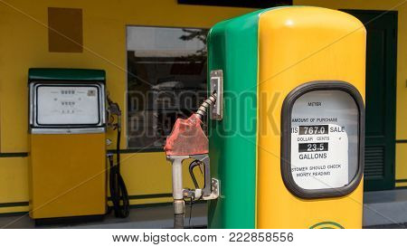 Old Retro Vintage Oil Pump Station Or Oil Dispenser In Petrol Station. Close Up Of Vintage Old Stati