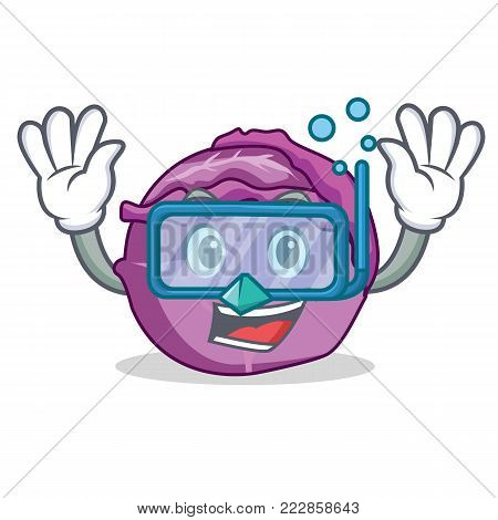Diving red cabbage character cartoon vector illustration