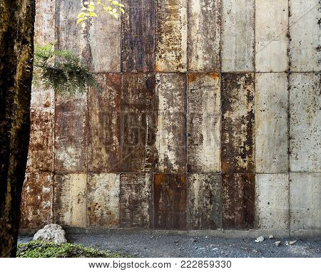 Many old rusted metal sheet. Rusty surface caused by oxidation iron. For design work texture and background.