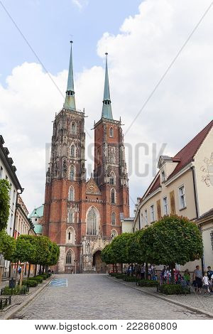 WROCLAW - POLAND, JUNE 12, 207: Wroclaw Cathedral (Cathedral of St. John the Baptist), gothic style church on Ostrow Tumski Island. It  is the seat of the Roman Catholic Archdiocese of Wroclaw