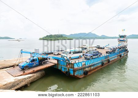 Ferry Boat Vessel For Passengers And Cars In Thailand