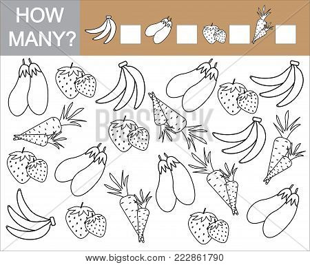 Count how many fruits, berries and vegetables. Paint objects. Learning numbers, mathematics. Counting game for preschool children.
