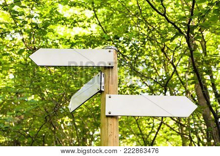 travel to Germany - arrows in mountain forest in summer