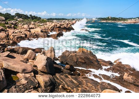 travel to France - view of English Channel coastline in Ploumanac'h site of Perros-Guirec commune on Pink Granite Coast of Cotes-d'Armor department in the north of Brittany in sunny summer day