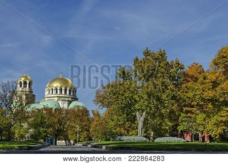 Fragment of beauty St. Alexander Nevsky Cathedral with public garden in Sofia, Bulgaria