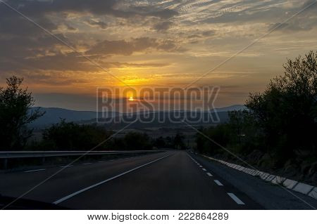 Landscape of interesting mountain  road at sunset, Balkan mountain, Bulgaria