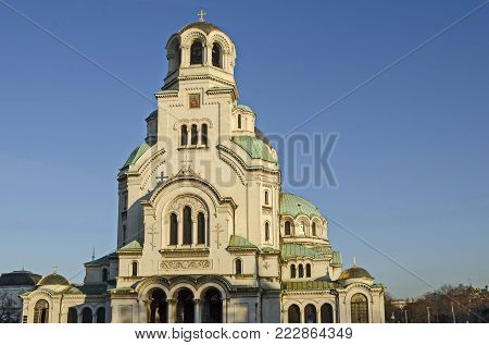 Sofia, Bulgaria - November 11, 2017: Fragment of beauty St. Alexander Nevsky Cathedral in Sofia, Bulgaria.  Visit in place.
