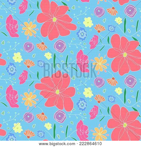 Cute seamless pattern with colorful doodle flowers. Floral texture with big pink flower on blue sky background for textile, bedclothing, wrapping paper, wallpaper, cover, underwear