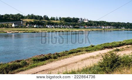 Travel to France - panoramic view of Loire river with island Ile d'Or and Amboise town in Val de Loire region in sunny summer day