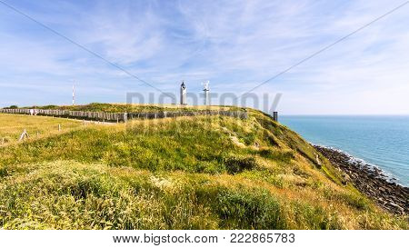 travel to France - lighthouse on Cap Gris-Nez of English channel in Cote d'Opale district in Pas-de-Calais region of France in summer day