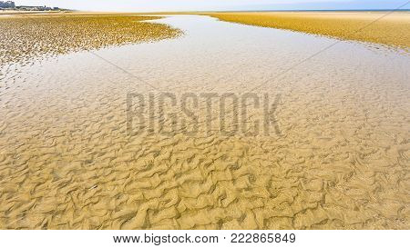 travel to France - yellow sand beach of Le Touquet in low tide (Le Touquet-Paris-Plage) on coast of English Channel